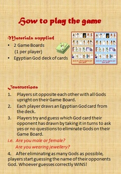 Guess the Ancient Egyptian God Game - 'Guess Who' style revision game