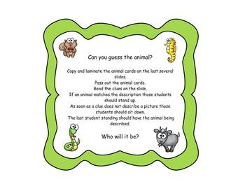 Guess the Animal - Smart Board Activity