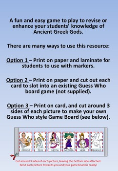 Guess the Greek God Game - 'Guess Who' style