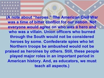 Guess the Heroes and Heroines of the American Civil War Power Point