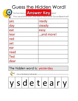 Guess the Hidden Word - Language activity for Literacy Centres! Grades 1-3