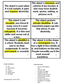 Guess the Object Scavenger Hunt Game and Vocabulary in Context Resource