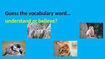 Guess the Vocabulary Word with Four Pictures for the story Click, Clack, Moo