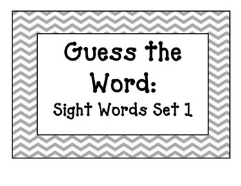 Guess the Word Sight Word Games