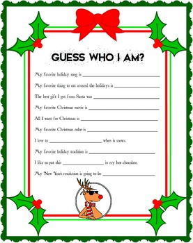 Guess who I am? Holiday Game