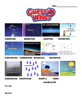 Guess who game board- water cycle, and atmosphere