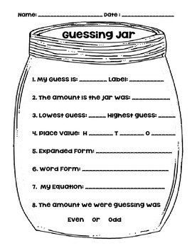 Guessing Jar By Birds Blooms And Books Teachers Pay Teachers