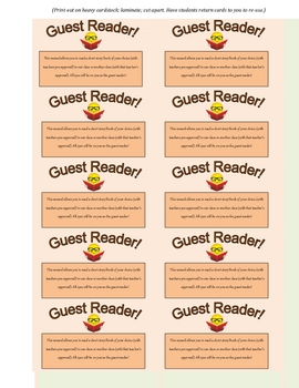 Guest Reader! Reward Card for Students (Great Incentive!)