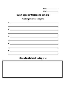 Guest Speaker Notes Organizer / Exit Slip