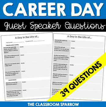 Guest Speaker Questions (A Day in the Life...) Career, Job, or Occupation!