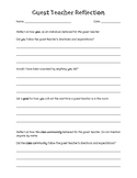 Guest/Substitute Teacher Reflection for Elementary Students
