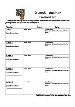 Guest Teacher Feedback Form