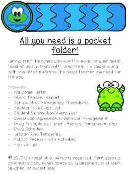 Guest Teacher Folder and Sub Plan Printables