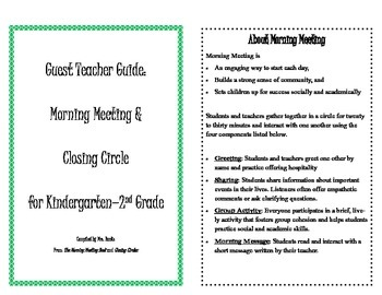 Guest Teacher Guide: Morning Meeting & Closing Circle, K-2nd