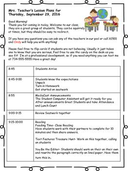 Guest Teacher Lesson Plan Template- Sub Plans