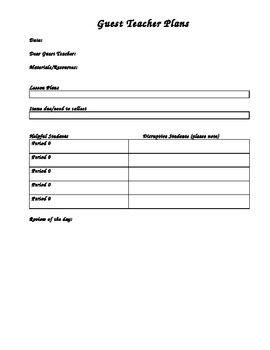 Guest Teacher Plan Sheet