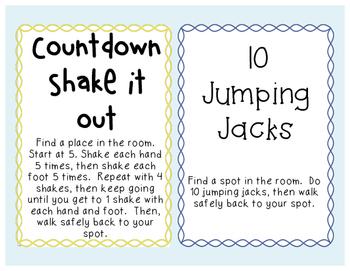 Guest Teacher / Substitute Brain Break Cards