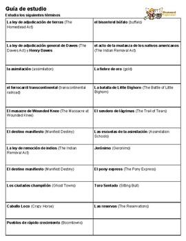 Guía de estudio de la expansión hacia el oeste