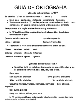 Guia de Ortografía/ Guide to differentiate the use of C,S and B,V