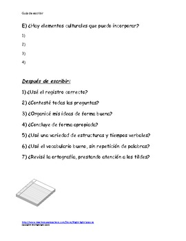Guia de escribir/writing guide for upper level spanish students