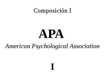 Guía de estilo APA, parte I