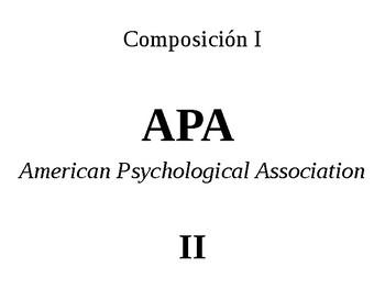 Guía de estilo APA, parte II