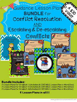 Lesson BUNDLE for Conflict Resolution AND De-escalating, #septembercounselordeal