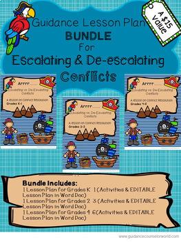 Guidance Lesson BUNDLE for Escalating & De-escalating Conflicts, Grades K-6