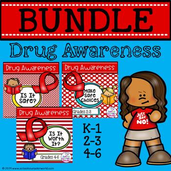 Guidance Lesson BUNDLE on Drug Awareness, Grades K-6 #CounselorsBack4School