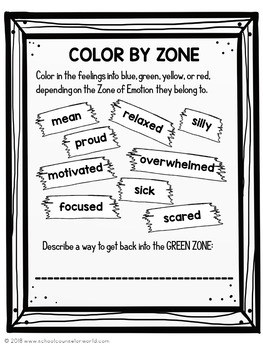 Guidance Lesson on Zones of Emotions Toolbox, Grades 2-3