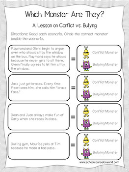 Guidance Lesson to teach Conflict vs. Bullying, Grades 2-3