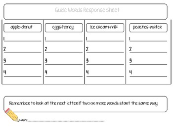 Guide Word/ ABC Order Sort (Level A)
