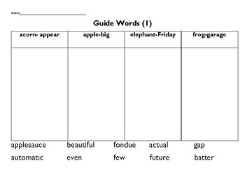 Guide Word Practice