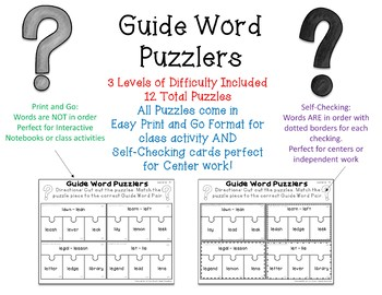 Dictionary Guide Word Puzzles
