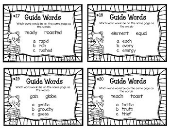 Guide Word Task Cards for Grades 2-3