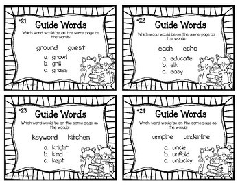 Guide Word Task Cards for Grades 4-5