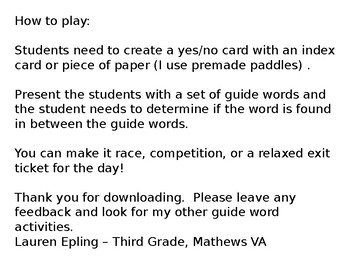 Guide Word Yes or No Practice 2