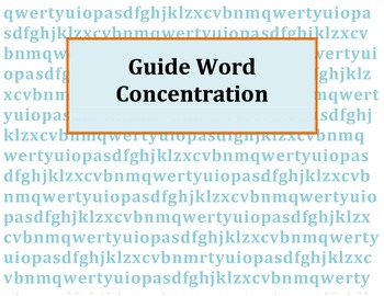 Guide Words Concentration