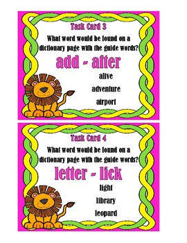 Guide Words - Dictionary Skill Task Cards