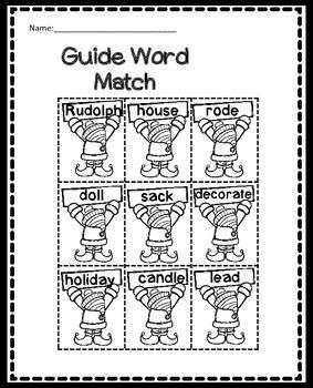 Christmas Guide Words Worksheet