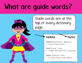 Guide Words Introduction and Task Cards for Google Slides