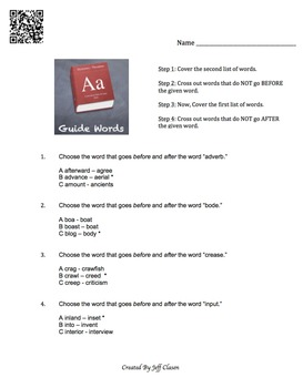 Guide Words Lesson and Practice Worksheet