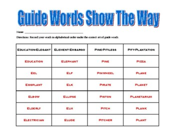 Guide Words Show the Way