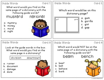 Guide Words Task Cards and Guide Words Quiz