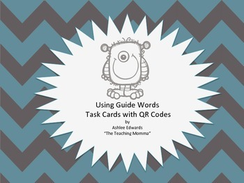 Guide Words Task Cards using QR Codes