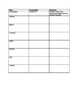 Guide Words Worksheet