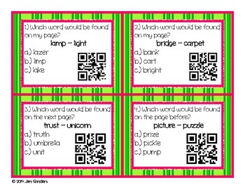 Guide Words for Dictionary or Glossary Practice QR Codes and Task Cards
