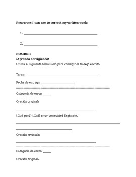 Guide for Correcting Written Work and Student Correction Worksheet (Spanish)