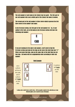 Guide for Library Shelf Signs - Everyone Section- Brown Dot