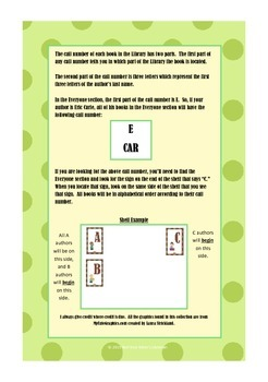 Guide for Library Shelf Signs - Everyone Section- Green Dot